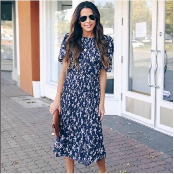 Vici Recipe For Romance Floral Chiffon Midi Dress